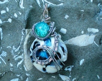Handmade Lampwork and Wire Wrapped Pendant