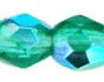 25-100, 3mm Czech Fire Polished, Round Glass Beads, EMERALD AB, #03X-5073,  teal, green, emerald, Beadweaving, Beading, Jewelry, Kumihimo