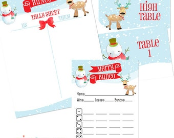 Christmas  Bunco Score Card with Reindeer, Snowman and Santa Claus- Merry and Bunco- Table Markers- Table Numbers-Tally Sheet- Winter Bunco