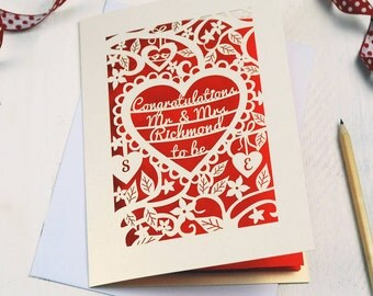 Personalised Papercut Heart Engagement Card, Floral Engagement Congratulations Laser Cut Card, Mr and Mrs to Be, sku_engagement_Mr_Mrs