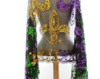 Mardi Gras Scarf Sequin Fleur De Lis