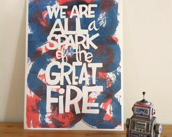 Quote poster. Fine art print. Spark. Hand lettering print.