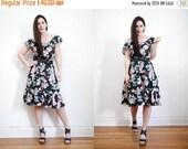On Sale Vintage Floral Tropical Off The Shoulder Cold Shoulder Cotton Hippie Dress