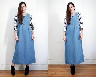 Vintage Denim Jeans Pinafore Dungaree Grunge Revival Overalls Dress 90's