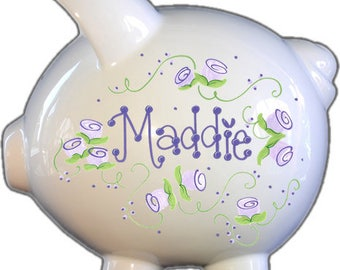 Personalized Piggy Bank with Lavender Roses Design | White | Lavender | Large | Girl | Baby Gift | Free Shipping