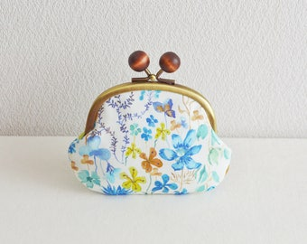 Frame purse with wooden balls -Liberty - Amber's Posy - cotton, blue, white, aqua