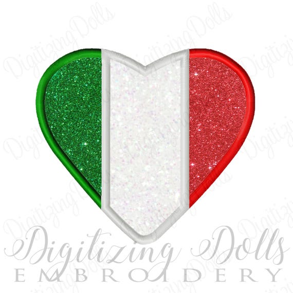 Italian Flag Heart Applique Machine Embroidery Design Digital File 4x4 5x7 6x10 INSTANT DOWNLOAD