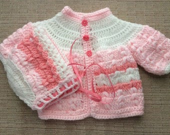 Sweater set color pink,white and cotton candy size newborn