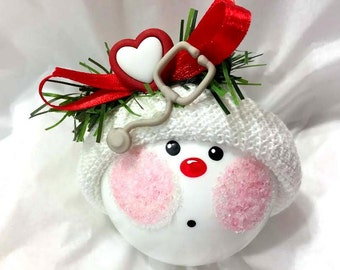 Doctor Christmas Ornaments Stethoscope Heart Nurse Hand Painted Handmade Personalized Themed by Townsend Custom Gifts