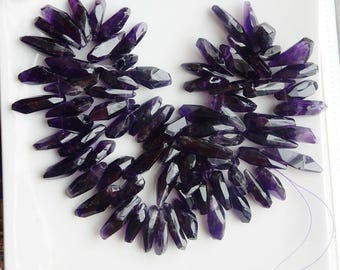 Amethyst faceted stick point  Briolette , freeform, stick point beads (15-21x6-9mm)
