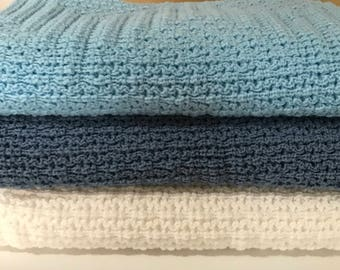 Knitted Baby Afghan,Throw Blanket, Light Blue,Country Blue, White
