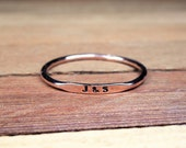Skinny Personalized Band 14k Gold Ring 1mm Super Slim Stacking Ring Tiny 1mm Letters and Numbers Choose Yellow Gold Rose Gold or White Gold