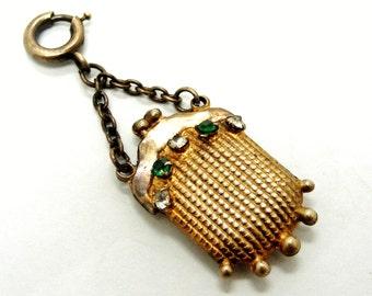 Pretty vintage French gilt metal and paste purse fob charm
