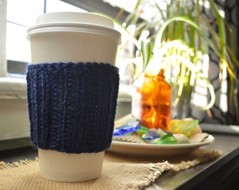Dark Blue Knitted Cup Cozy