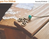 VALENTINES SALE Antiqued bronze bicycle and turquoise glass bead necklace, Pedal Pusher