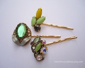 Vintage earring hair grip - Green yellow opaque milk glass adventurine upcycle gem givre jeweled unique embellish decorative accessories
