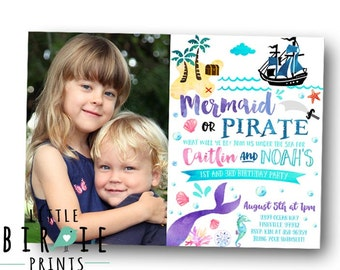 MERMAID PIRATE INVITATION Mermaid and pirate party invitation Mermaid and pirate birthday party invitation Boy and Girl Dual Watercolor