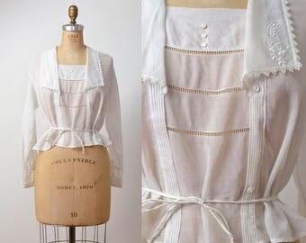 1910s Edwardian Sailor Blouse / 10s 20s Cotton Voile Blouse