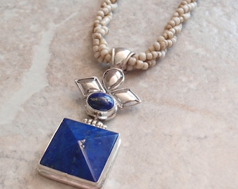 Lapis Necklace Sterling Silver Square Oval Vintage CW0130