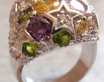 Sterling CZ Ring Silver Pastel Stars Size 8-3/4 Vintage V0004