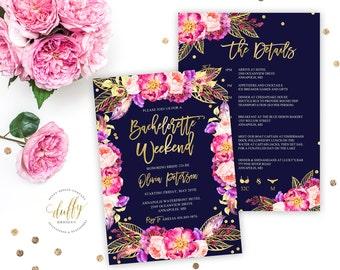 Bachelorette Party Invitation, Bachelorette Weekend Invite, Navy & Pink Bachelorette Party Invite Itinerary, Girls Weekend, 5x7 Invitation