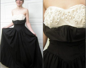 Vintage 50s Strapless Ball Gown Prom Party Dress Black Taffeta Eyelet Rhinestone Daisies Tiered Bustle Tail Back CLEARANCE
