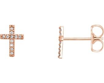 Tiny Diamond Cross Earrings - Holiday Gift Guide. Christmas Gift Ideas for Her. 14k Rose, Yellow, White Gold & Platinum. Gift Idea for Her