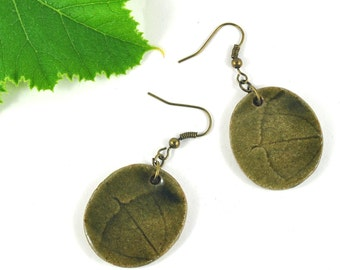 Ceramic Earrings Handmade Jewellery on Antiqued Bronze Earwires with Pumpkin Leaf Imprint Earthy Olive Green Comes in Handmade Gift Pouch