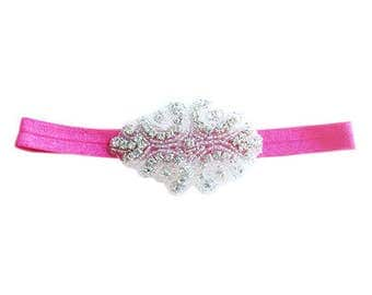 Diamond Headband - Hot Pink - Statement Piece Headband - Baby Headband - Flower Girl Headband - Baby Photography - Sparkle Headband