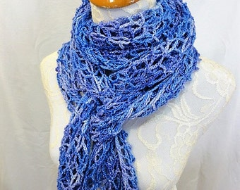 tanzanite purple merino silk lacy scarf wrap