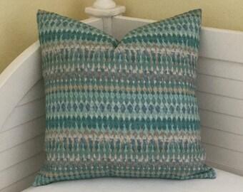 Turquoise Geometric Designer Pillow Cover - Square, Lumbar and Euro Sizes