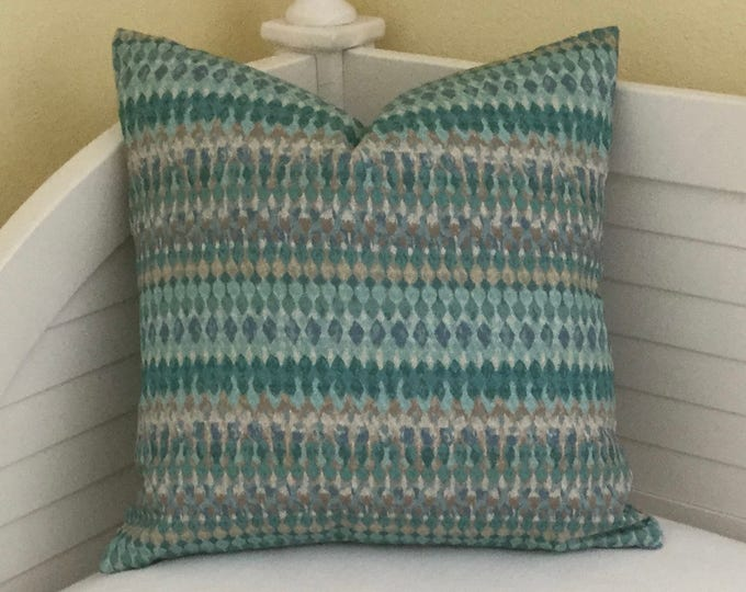 Turquoise Geometric Designer Pillow Cover - Square, Lumbar and Euro Sizes
