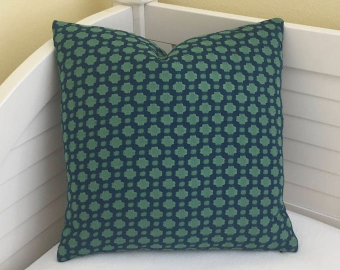 Schumacher Celerie Kemble Betwixt in Peacock and Seaglass  Designer Pillow Cover - Square, Lumbar and Euro Designer Pillows