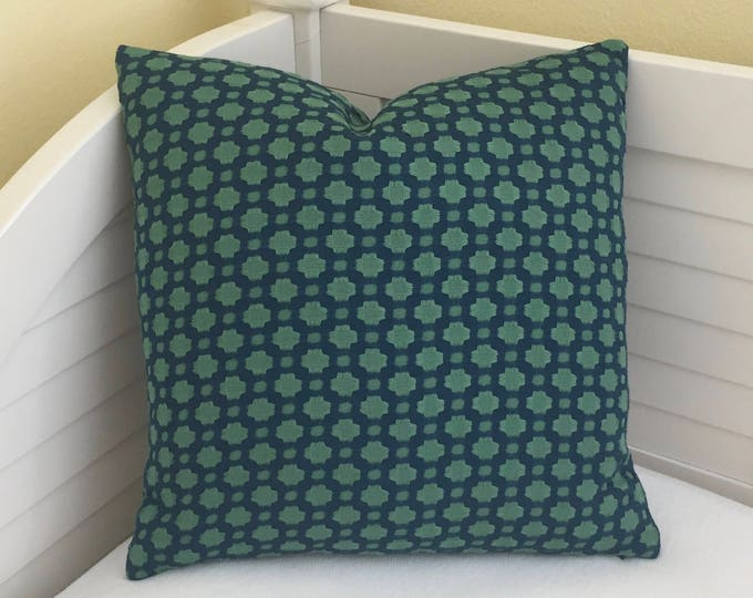 Schumacher Celerie Kemble Betwixt in Peacock and Seaglass  Designer Pillow Cover - Both Sides  - Square, Lumbar and Euro Sizes