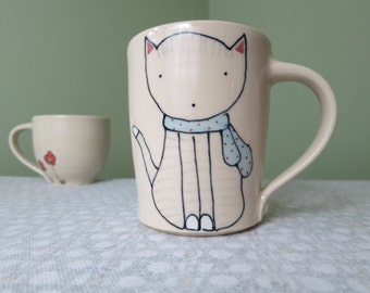 Cat Coffee Mug - Handmade Ceramic Mug - Cat Illustration - Cat Mug - Cute Pottery - Tea Cup
