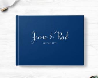 Blue wedding guest book, Landscape or Portrait, Wedding guest book, Various colors gb0119