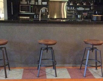 Vintage style Raw Distressed Brown Leather Topped Metal Industrial Task  Bar Stool