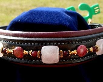 "Custom Dog Collar w/Gemstones; Blk w/Oxblood Padding; 16"""