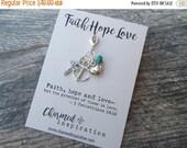 SPRING SALE Faith Hope Love Clip-On Charm Tibetan Silver Inspirational gift, purse charm, planner charm, Key fob dangle, Zipper pull Corinth