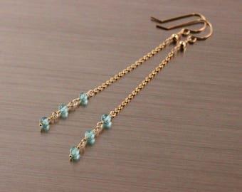 AAA Blue Apatite Chain Earrings, Gold Filled, Blue Green Seafoam Gemstone, Wire Wrapped, Long DangleDangly Earrings, Simple Linear