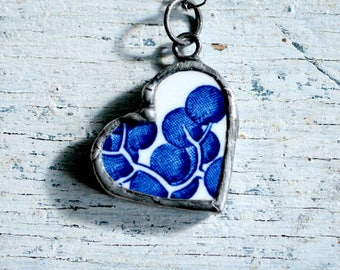 Heart Necklace, Blue Willow Necklace, Hand Cut from Antique Broken Dish, Heart Jewelry, China, Blue & White China, Heart Pendant (2761)
