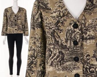 Painterly Landscape TOILE French Fabric Box Jacket Retro Vintage Shabby Chic Parisian Jacket Medium