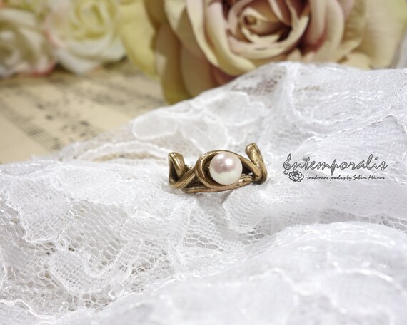 Bronze ring, pearl, french size 54, OOAK, SABA18