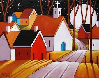"Giclee Print Folk Art Village by Cathy Horvath 5""x7"" Fall Full Moon Stars Night Town Church Roadway Landscape, Archival Artwork Reproduction"