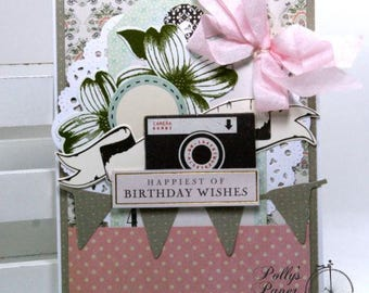 Happies Birthday Wishes Greeting Card Polly's Paper Studio Handmade