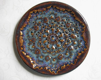 Dark Iron Lustre Pottery Doily Dish or Spoon Rest
