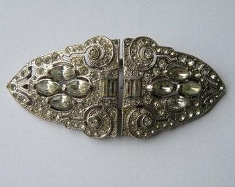Coro Duette clear rhinestone brooch, dress clip, shoe clip. Art Deco duette, double clip brooch.