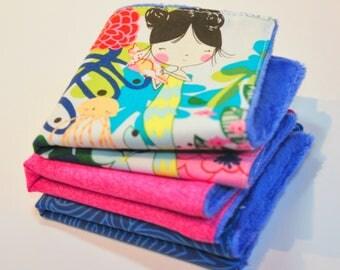 Face cloths - wash cloths -  bathtime fun - fun mermaids - water play -  soft cotton and minky - set of 3