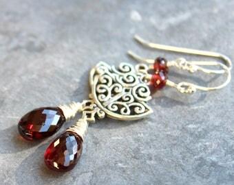 Art Deco Garnet Earrings Sterling Silver Statement Red Gemstone Briolette Dangles, January Birthstone
