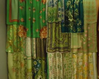 "Shades of Lime Green Gypsy Boho Curtains - 63"" long"